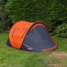 Andes Large 2 Person Pop Up Tent For Camping Festival Fishing Orange Grey