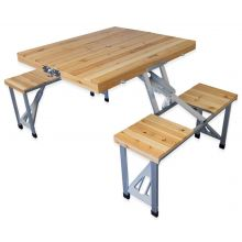 Andes Folding Wooden Camping Table & Chair Picnic Set
