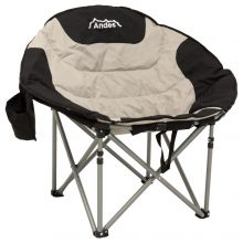 Andes Camping Folding Moon Chair Cup Holder Back Pocket Storage Black/Grey