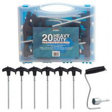 Andes Screw In Threaded Heavy Duty Camping Tent & Awning Ground Pegs (20 pack)