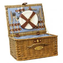 Andes 4 Person Luxury Wicker Basket Outdoor Summer Picnic Hamper Set